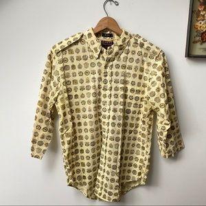 1970s Vintage Luxury Car Print Button Down Shirt